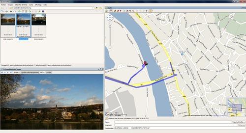 A gauche la prévisualisation de la photo, a droite la position marqué par un point rouge sur la carte